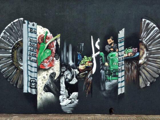 Kunst aan de muur van Restaurant Smink